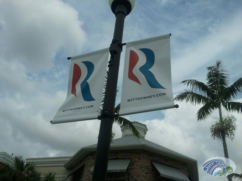 Mitt Romney signs put up in Tradition for his visit to Port St Lucie, Florida