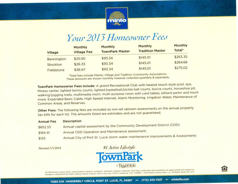 Town Park HOA fees 2013