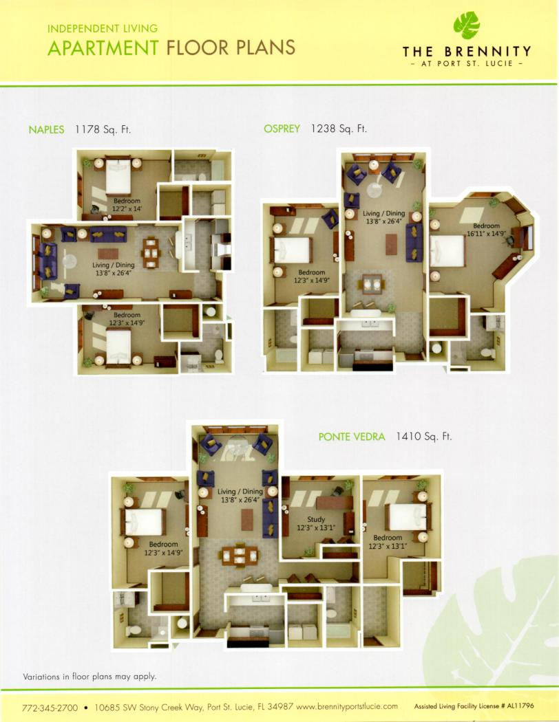 Brennity Apartment Floorplans