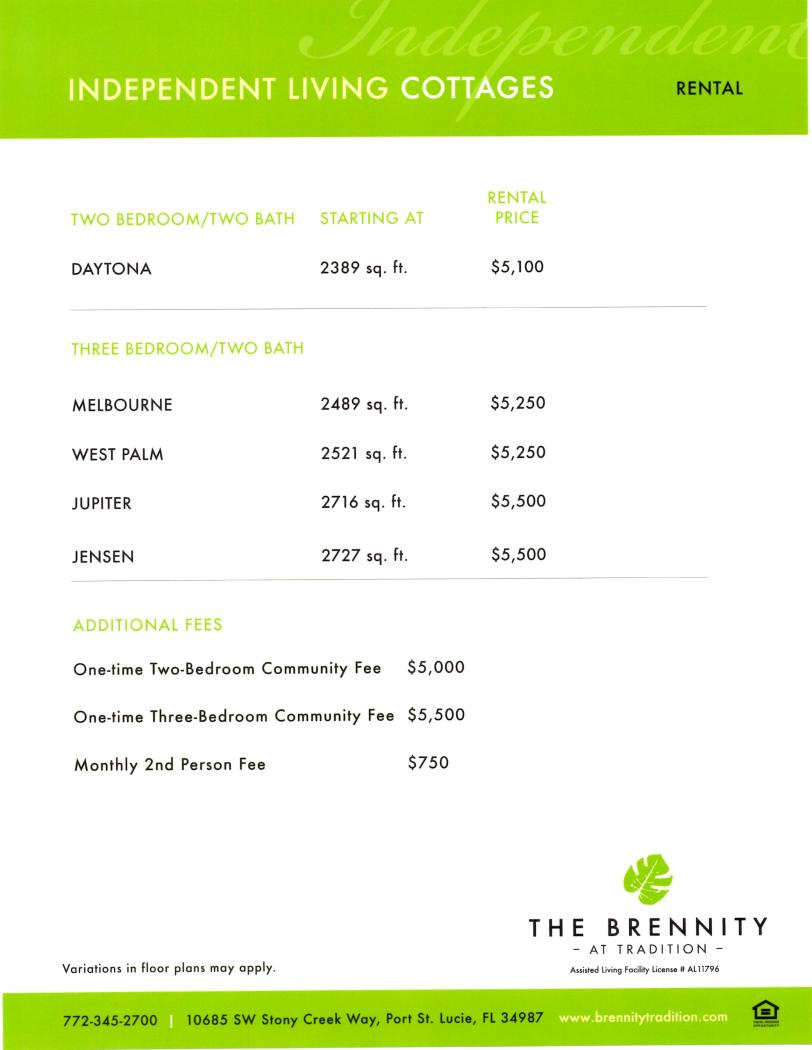 The Brennity Port St Lucie Pricing